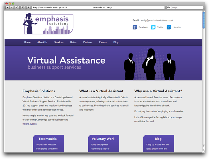 Emphasis Solutions home page web design