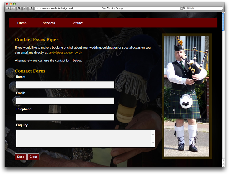 Essex Piper we design by One Website Design, Essex
